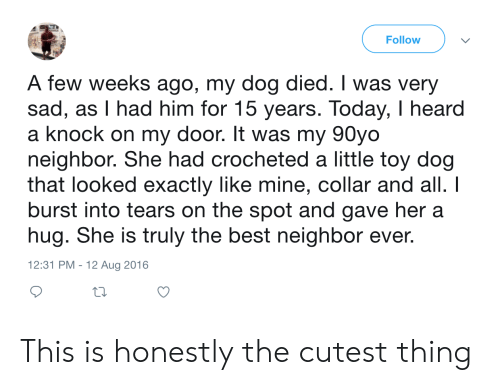 Burst: Follow  A few weeks ago, my dog died. I was very  sad, as I had him for 15 years. Today, I heard  a knock on my door. It was my 90yo  neighbor. She had crocheted a little toy dog  that looked exactly like mine, collar and all. I  burst into tears on the spot and gave her a  hug. She is truly the best neighbor ever.  12:31 PM - 12 Aug 2016 This is honestly the cutest thing