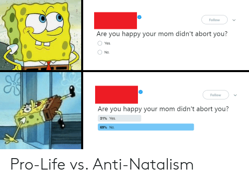 Abort: Follow  Are you happy your mom didn't abort you?  O Yes  O No.  Follow  Are you happy your mom didn't abort you?  31%  Yes.  69% NO Pro-Life vs. Anti-Natalism