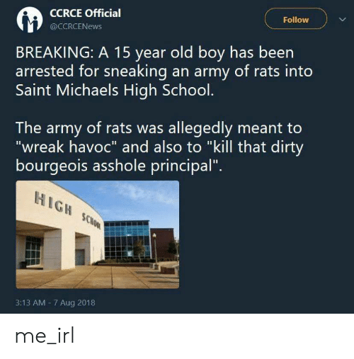 "Army: Follow  CCRCE Official  @CCRCENEWS  BREAKING: A 15 year old boy has been  arrested for sneaking an army of rats into  Saint Michaels High School.  The army of rats was allegedly meant to  ""wreak havoc"" and also to ""kill that dirty  bourgeois asshole principal""  HIGH SCHOOL  3:13 AM 7 Aug 2018 me_irl"