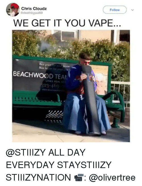 We Get It: Follow  Chris Cloudz  WE GET IT YOU VAPE  BEACHWOOD TEAL  INKS REAL  323-469 @STIIIZY ALL DAY EVERYDAY STAYSTIIIZY STIIIZYNATION 📹: @olivertree