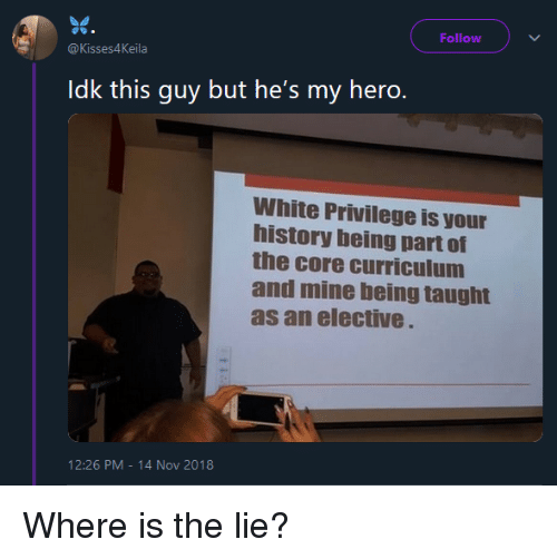 White Privilege: Follow  @Kisses4Keila  Idk this guy but he's my hero.  White Privilege is your  history being part of  the core curriculum  and mine being taught  as an elective  12:26 PM-14 Nov 2018 Where is the lie?