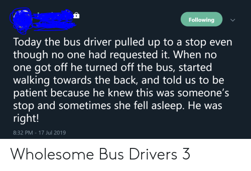 Bus Driver: Following  Today the bus driver pulledup to a stop even  though  one got off he turned off the bus, started  walking towards the back, and told us to be  patient because he knew this was someone's  stop and sometimes she fell asleep. He was  right!  no one had requested it. When no  8:32 PM - 17 Jul 2019 Wholesome Bus Drivers 3