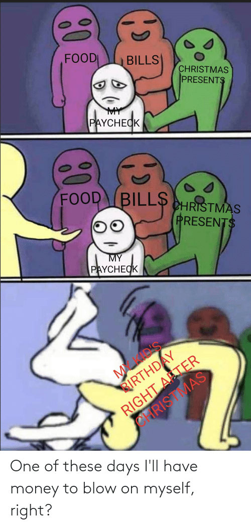 Christmas, Food, and Money: FOOD  BILLS  CHRISTMAS  PRESENTS  MY  PAYCHECK  FOOD BILL$  CHRISTMAS  PRESENTS  PAYCHECK  MY  RIGHT ATER  CHRISTMAS  RIRTHDAY One of these days I'll have money to blow on myself, right?