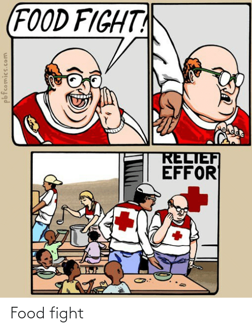 relief: (FOOD FIGHT  RELIEF  EFFOR  pbfcomics.com Food fight