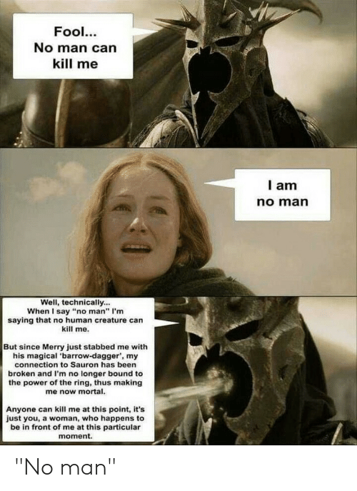 """The Ring, Lord of the Rings, and Power: Fool...  No man can  kill me  I am  no man  Well, technically...  When I say """"no man"""" I'm  saying that no human creature can  kill me.  But since Merry just stabbed me with  his magical 'barrow-dagger, my  connection to Sauron has been  broken and I'm no longer bound to  the power of the ring, thus making  me now mortal  Anyone can kill me at this point, it's  just you, a woman, who happens to  be in front of me at this particular  moment. """"No man"""""""