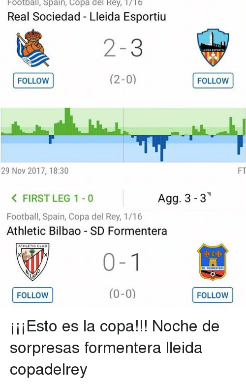 Sociedad: Football, Spain, Copa del Rey, /16  Real Sociedad - Lleida Esportiu  2-3  (2-0)FOLLOW  LLEOA ESPORTRN  FOLLOW(  29 Nov 2017, 18:30  FT  Agg. 3-3  < FIRST LEG 1-0  Football, Spain, Copa del Rey, 1/16  Athletic Bilbao - SD Formentera  ATHLETIC CLUB  0-1  FOLLOW (0-0)  汽 ¡¡¡Esto es la copa!!! Noche de sorpresas formentera lleida copadelrey