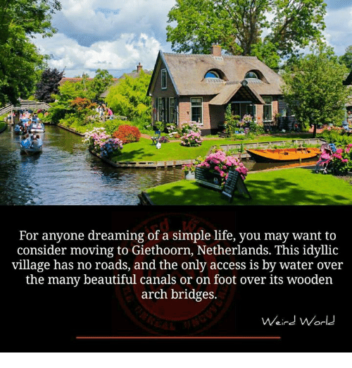 simple life: For anyone dreaming of a simple life, you may want to  consider moving to Giethoorn, Netherlands. This idyllic  village has no roads, and the only access is by water over  the many beautiful canals or on foot over its wooden  arch bridges.  Weird World