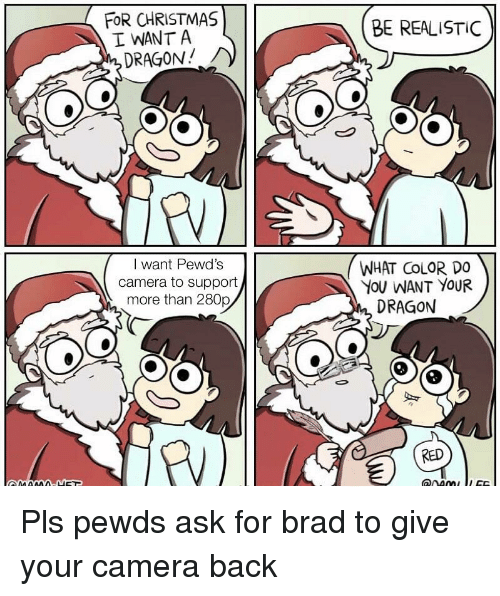 Christmas, Camera, and Back: FOR CHRISTMAS  I WANT A  DRAGON!  BE REALISTIC  I want Pewd's  camera to support  more than 280p  WHAT CoLOR DO  YoU WANT YOUR  DRAGON  RED