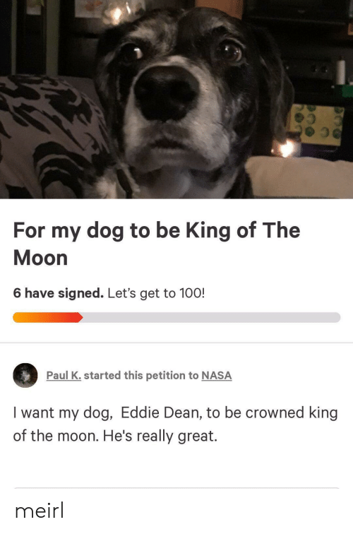 Nasa, Moon, and MeIRL: For my dog to be King of The  Moon  6 have signed. Let's get to 100!  Paul K. started this petition to NASA  I want my dog, Eddie Dean, to be crowned king  of the moon. He's really great. meirl