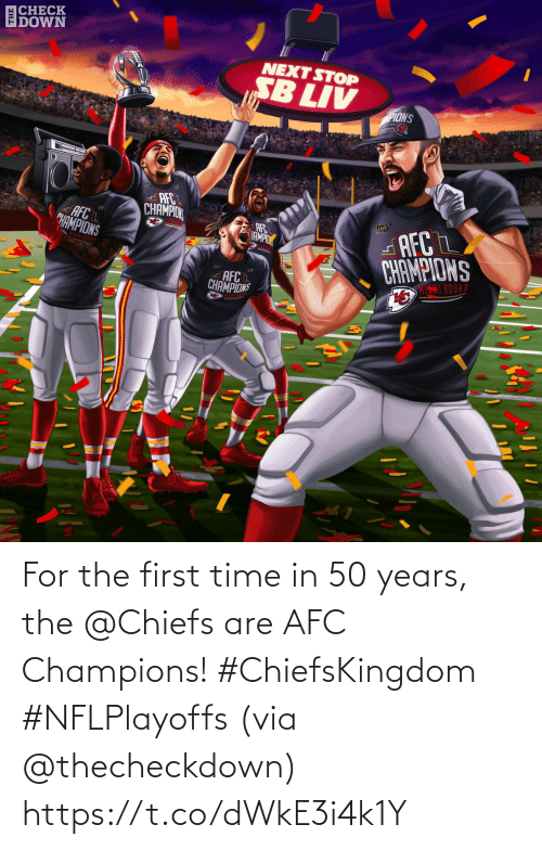 champions: For the first time in 50 years, the @Chiefs are AFC Champions! #ChiefsKingdom #NFLPlayoffs  (via @thecheckdown) https://t.co/dWkE3i4k1Y