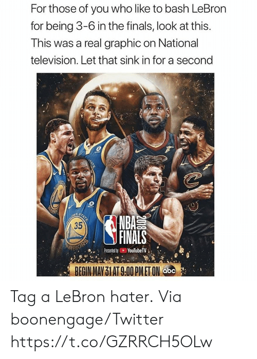 sink: For those of you who like to bash LeBron  for being 3-6 in the finals, look at this.  This was a real graphic on National  television. Let that sink in for a second  COLD  WARN  BOUREN  35  STATE  NBA  FINALS  ARRIOEP  YouTubeTV  Presented by  BEGIN MAY 31 AT 9.00 PMET ON abc  2018  TATE Tag a LeBron hater.  Via boonengage/Twitter https://t.co/GZRRCH5OLw