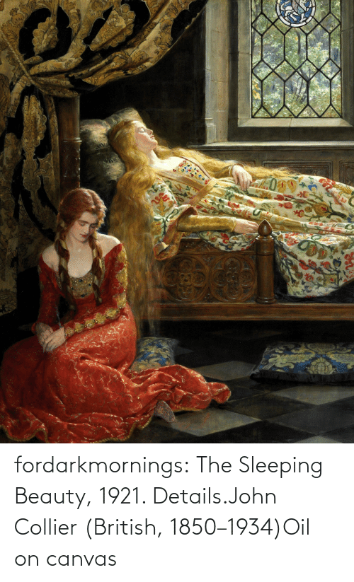 oil: fordarkmornings:  The Sleeping Beauty, 1921. Details.John Collier (British, 1850–1934)Oil on canvas