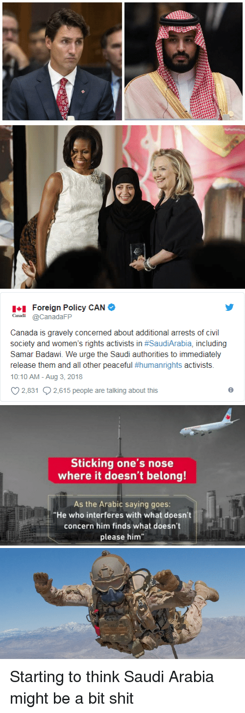 """Shit, Canada, and Saudi Arabia: Foreign Policy CAN  CanadaFP  Canada is gravely concerned about additional arrests of civil  society and women's rights activists in #SaudiArabia, including  Samar Badawi. We urge the Saudi authorities to immediately  release them and all other peaceful #humanrights activists.  10:10 AM - Aug 3, 2018  2,831 2,615 people are talking about this   Sticking one's nose  where it doesn't belong!  As the Arabic saying goes:  """"He who interferes with what doesn't  concern him finds what doesn't  please him Starting to think Saudi Arabia might be a bit shit"""