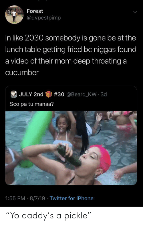 "cucumber: Forest  @dvpestpimp  In like 2030 somebody is gone be at the  lunch table getting fried bc niggas found  a video of their mom deep throating a  cucumber  JULY 2nd  # 30  @Beard - KW  3d  Sco pa tu manaa?  1:55 PM 8/7/19 Twitter for iPhone ""Yo daddy's a pickle"""