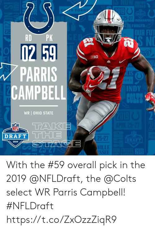 NFL draft: FORGE  DRAFT  5-27  INDIANAPOLIS  FORGED  OUR FUT  RD PK  B1G  PARRIS  CAMPBEL  LIS  INDY  AR  WR OHIO STATE  TAKE  NFL  DRAFT  25-27  VILLE  ESSEE  DRAFT  2019  2019 With the #59 overall pick in the 2019 @NFLDraft, the @Colts select WR Parris Campbell! #NFLDraft https://t.co/ZxOzzZiqR9
