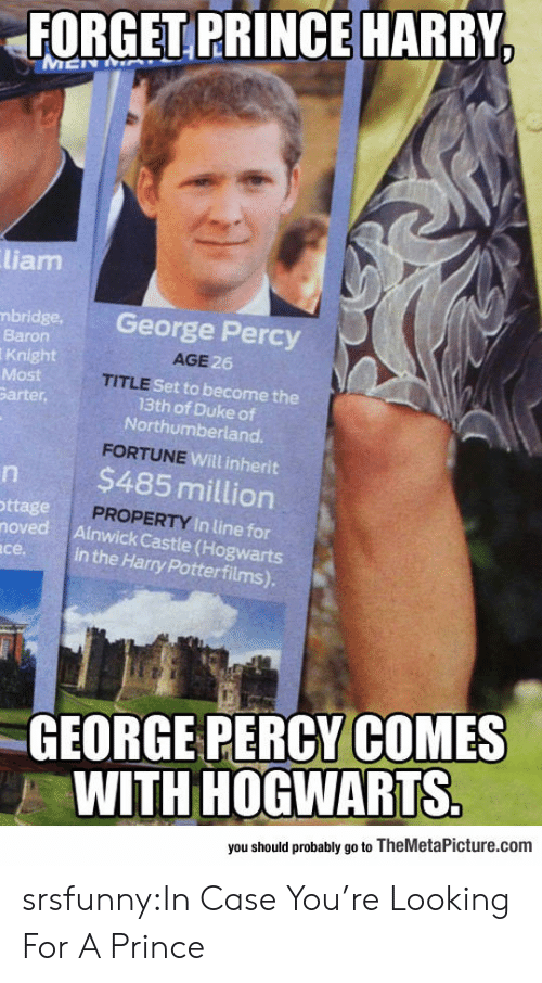 Prince Harry: FORGET PRINCE HARRY  liam  bridge. George Percy  Baron  Knight  Most  arter,  AGE  6  TITLE  Set to become the  13th of Duke of  Northumberland.  Will inherit  $485 million  ttage  PROPERTY In lin  noved Ainwick Castle (Hogwarts  in the Harry Potterfilms).  се.  GEORGE PERCY COMES  WITH HOGWARTS  you should probably go to TheMetaPicture.com srsfunny:In Case You're Looking For A Prince
