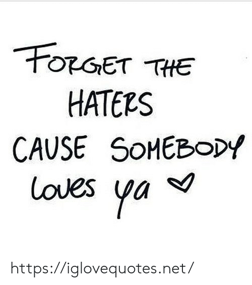 Net, Href, and Haters: FORGET THE  HATERS  CAUSE SOMEBODY  loves ya https://iglovequotes.net/