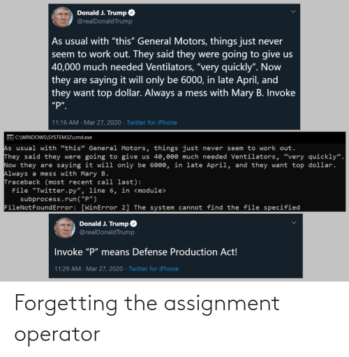 Operator: Forgetting the assignment operator