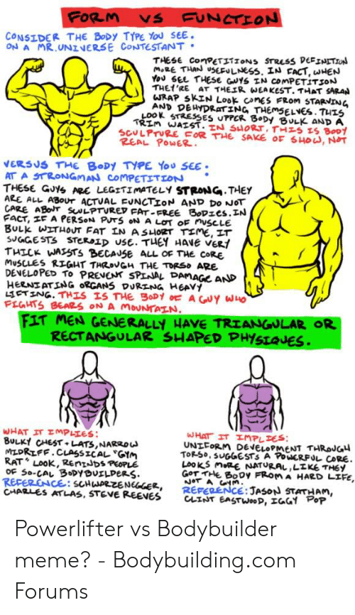 Bodybuilder Meme: FORM VS UNCTİON  ONSIDER THE BoDy TYPE You SEE  ON A MR UNINERSE CONTESTANT  THESE ConPET1IONS STREss DEFINITION  THEt'RE. AT THEェR wEAKEST.THAT SARAN  WRAP SKIN Look cnes FROM STARNING  LOOK STRESSES UTPCR 8 Dy BULK AND A  SCULPTURE FOR THE SAKE OE HD, NOT  REAL PowER.  ERSUS THE BODY TYPE You SEE  THESE G0% ARC LEGITİMATELY STRONG,THEY  ARE ALL ABOVr ACTUAL EVNCTİON AND DO NOT  2E ABoT SNLPTURET FAT FREE BoDzes.IN  THICK WASSTS BECAUSE ALL OE THE coRE  DENELOPED To PRENENK SPLNAL PAMAGe AND  HEAT ATING ORGANS DUR LNG HEAVY  PLGHTS BEARS ON A MoUNTAZN  FIT MEN GENERALLY HAVE TRIANGULAR OR  RECTANGULAR SHAPED PHYSLQUES  BULK CHEST LATS,NARRo  MLDRIFF.CLASSICAL GAM  RAT Look, RenIJDs PEOPLE  UNLFOR M DENELOPMENT THRoJG  TOR-50. SUGGESTS A PoucRFルCoRE.  LOOKS MR NATURAL ,LIKE THEY  Gor Ht Booy FROM A HARD LIFE.  REPERENCE: SCHENGCE, REFERENCE: JASON STATHAN  CHARLES ATLAS, STEVE REEVES CLINT EASTWooD,エGGY op Powerlifter vs Bodybuilder meme? - Bodybuilding.com Forums