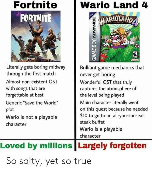 """existent: Fortnite  FORTNITE  Wario Land 4  MARIOLAND  1  Literally gets boring midway rilliant game mechanics that  through the first match  Almost non-existent OST  with songs that are  forgettable at best  Generic """"Save the World""""  plot  Wario is not a playable  character  never get boring  Wonderful OST that truly  captures the atmosphere of  the level being played  Main character literally went  on this quest because he needed  $10 to go to an all-you-can-eat  steak buffet  Wario is a playable  character  Loved by millions Largely forgotten So salty, yet so true"""