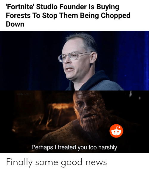 Some Good: 'Fortnite' Studio Founder Is Buying  Forests To Stop Them Being Chopped  Down  u/RearBit  Perhaps I treated you too harshly Finally some good news