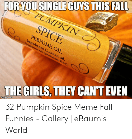 Pumpkin Spice Meme: FORYOUSINGIEGUYS THISFALl  PERFUME OIL  THE GIRLS, THEY CANT EVEN 32 Pumpkin Spice Meme Fall Funnies - Gallery | eBaum's World