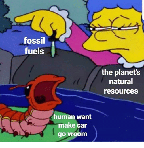 Fossil: fossil  fuels  the planets  natural  resources  uman want  make car  go vroom