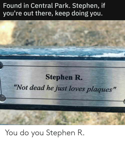 """Stephen: Found in Central Park. Stephen, if  you're out there, keep doing you.  Stephen R.  """"Not dead he just loves plaques"""" You do you Stephen R."""