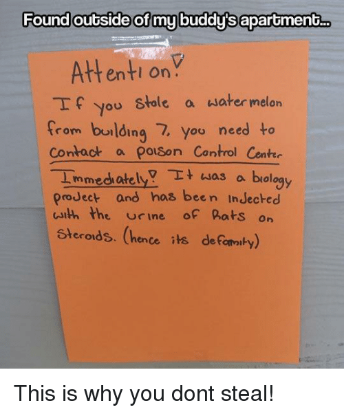 buddys: Found outside of my buddy's aparoment..  Attenti onY  If you stole a water melon  from burlding 7, you need to  Contact a polson Control Cente  Immedh atelya biology  proJect and has been InJecked  uith the rine of hats on  Steroids. (hence its deFomaiby) This is why you dont steal!