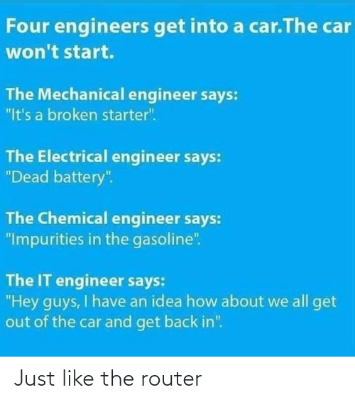 "Back In: Four engineers get into a car.The car  won't start.  The Mechanical engineer says:  ""It's a broken starter"".  The Electrical engineer says:  ""Dead battery"".  The Chemical engineer says:  ""Impurities in the gasoline"".  The IT engineer says:  ""Hey guys, I have an idea how about we all get  out of the car and get back in"". Just like the router"