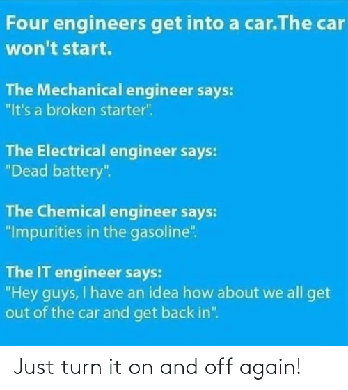 "broken: Four engineers get into a car.The car  won't start.  The Mechanical engineer says:  ""It's a broken starter"".  The Electrical engineer says:  ""Dead battery"".  The Chemical engineer says:  ""Impurities in the gasoline"".  The IT engineer says:  ""Hey guys, I have an idea how about we all get  out of the car and get back in"". Just turn it on and off again!"