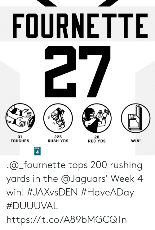 jaguars: FOURNETTE  27  225  RUSH YDS  31  TOUCHES  20  REC YDS  WIN!  WK  4 .@_fournette tops 200 rushing yards in the @Jaguars' Week 4 win! #JAXvsDEN #HaveADay  #DUUUVAL https://t.co/A89bMGCQTn