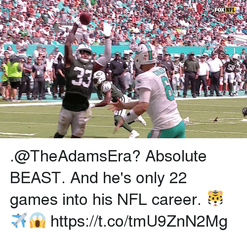 Memes, Nfl, and Games: FOX  2 .@TheAdamsEra? Absolute BEAST.   And he's only 22 games into his NFL career. 🐯✈️😱 https://t.co/tmU9ZnN2Mg