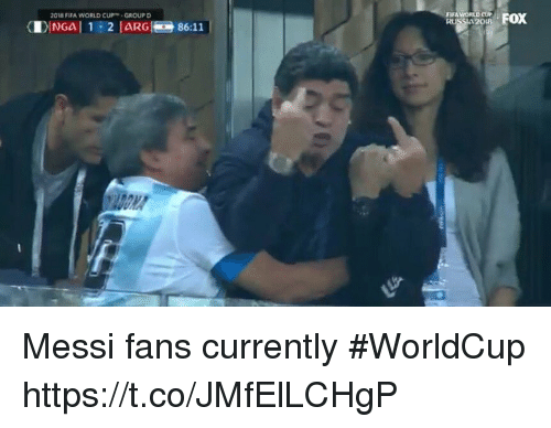 Fifa, Sports, and Messi: FOX  2018 FIFA WORLD CUPGROUP D  FIFA Messi fans currently #WorldCup https://t.co/JMfElLCHgP