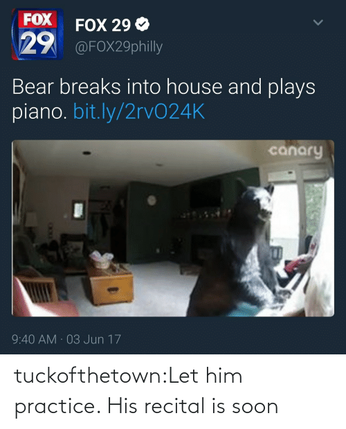 Breaks: FOX  29  FOX 29 Ф  @FOX29philly  Bear breaks into house and plays  piano. bit.ly/2rvO24K  canary  9:40 AM 03 Jun 17 tuckofthetown:Let him practice. His recital is soon