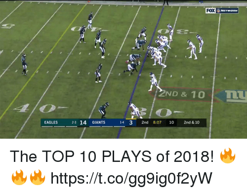 Philadelphia Eagles, Memes, and Giants: FOX  2ND & 10 I TLU  EAGLES 23 14 GIANTS 14 3 2nd 8:07 10 2nd & 10 The TOP 10 PLAYS of 2018! 🔥🔥🔥 https://t.co/gg9ig0f2yW