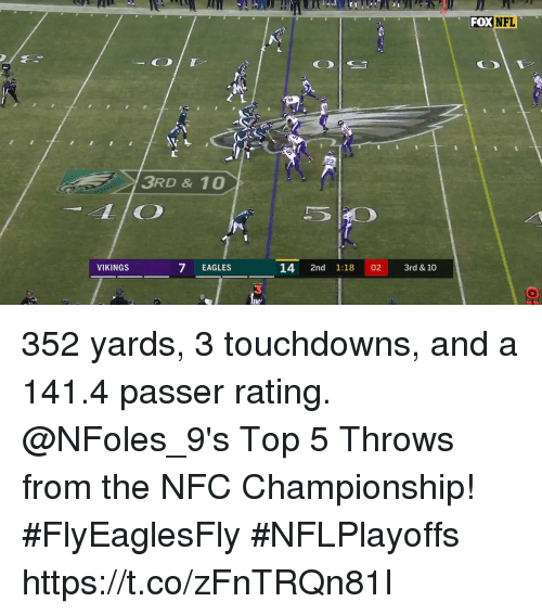 Nfc Championship: FOX  3RD & 10  LIO  VIKINGS  7 EAGLES  14 2nd 1:18 02 3rd & 10  3 352 yards, 3 touchdowns, and a 141.4 passer rating.  @NFoles_9's Top 5 Throws from the NFC Championship! #FlyEaglesFly #NFLPlayoffs https://t.co/zFnTRQn81I