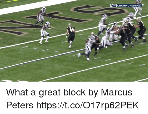 Football, Nfl, and Sports: FOX CHAMPIONSHIP What a great block by Marcus Peters   https://t.co/O17rp62PEK