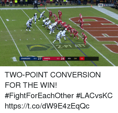 Memes, Chargers, and Chiefs: FOX  CHARGERS 10-3 27 CHIEFS  11-2 28 4th 03  04 TWO-POINT CONVERSION FOR THE WIN! #FightForEachOther  #LACvsKC https://t.co/dW9E4zEqQc