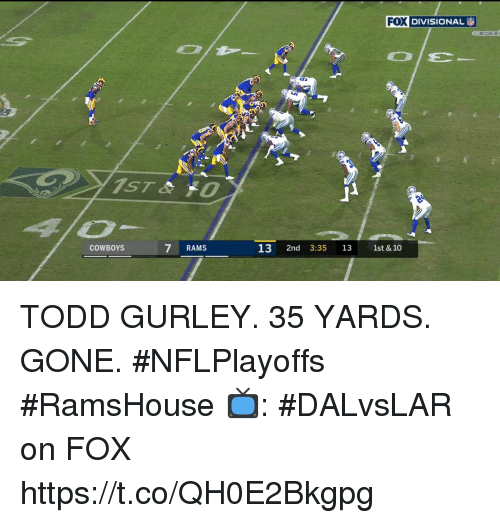 gurley: FOX  DIVISIONAL İ  COWBOYS  7 RAMS  13 2nd 3:35 13 1st & 10 TODD GURLEY.  35 YARDS.  GONE.  #NFLPlayoffs #RamsHouse  📺: #DALvsLAR on FOX https://t.co/QH0E2Bkgpg