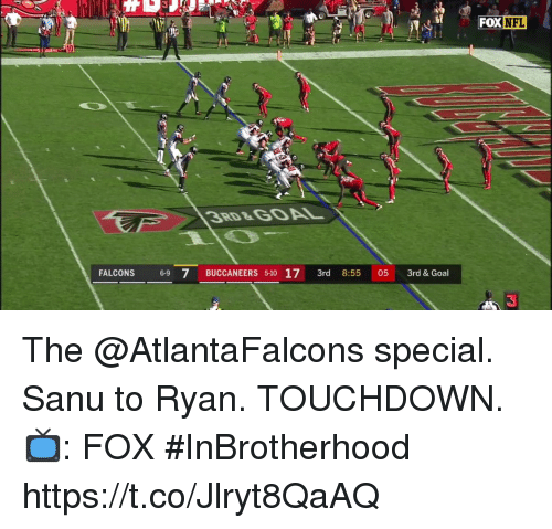 Memes, Nfl, and Falcons: FOX  DX NFL  10  38D&GOAL  FALCONS 6-9 7 BUCCANEERS 5-10 17 3rd 8:55 05 3rd& Goal  3 The @AtlantaFalcons special.  Sanu to Ryan. TOUCHDOWN.  📺: FOX #InBrotherhood https://t.co/Jlryt8QaAQ