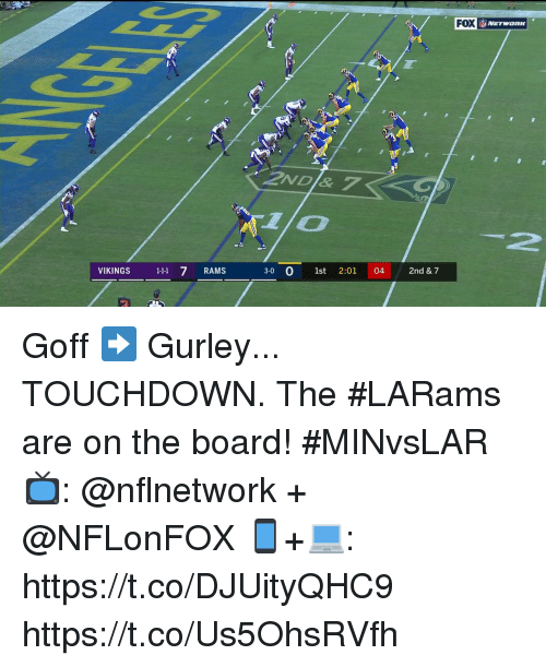 "Memes, Rams, and Vikings: ""  FOX  İ, NETWORK  2ND & 7  1lo  2  VIKINGS 11 7 RAMS  3-0 0 1st 2:01 04 2nd & 7 Goff ➡️ Gurley... TOUCHDOWN.  The #LARams are on the board! #MINvsLAR  📺: @nflnetwork + @NFLonFOX 📱+💻: https://t.co/DJUityQHC9 https://t.co/Us5OhsRVfh"