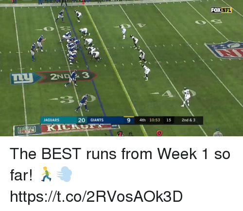 Memes, Best, and Giants: FOX NEL  JAGUARS  20 GIANTS  9 4th 10:53 15 2nd & 3 The BEST runs from Week 1 so far! 🏃‍♂️💨 https://t.co/2RVosAOk3D