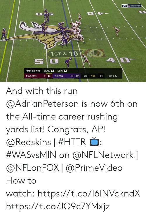 congrats: FOX NETwoRK  1ST &10  4 0  First Downs  WAS 12  MIN 12  5-2 16  1-6 6  REDSKINS  VIKINGS  3rd  1st & 10  7:56  15 And with this run @AdrianPeterson is now 6th on the All-time career rushing yards list! Congrats, AP!  @Redskins | #HTTR  📺: #WASvsMIN on @NFLNetwork | @NFLonFOX | @PrimeVideo How to watch: https://t.co/I6INVckndX https://t.co/JO9c7YMxjz