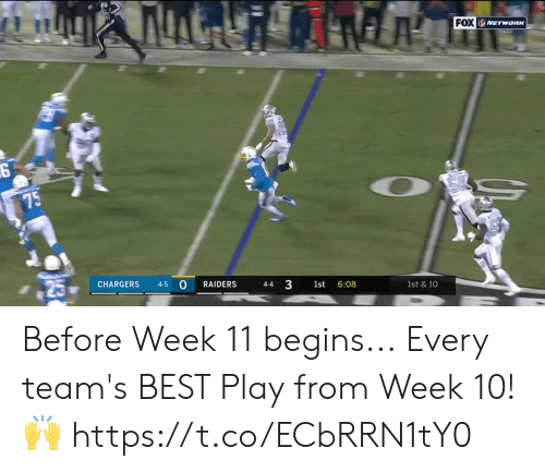 Raiders: FOX NETWORK  75  CHARGERS  4-5  RAIDERS  4-4  1st  6:08  1st & 10  3 Before Week 11 begins...  Every team's BEST Play from Week 10! 🙌 https://t.co/ECbRRN1tY0