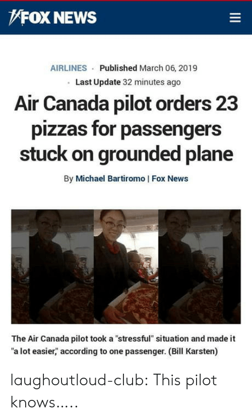 "grounded: FOX NEWS  AIRLINES Published March 06, 2019  Last Update 32 minutes ago  Alr Canada pilot orders 23  pizzas for passengers  stuck on grounded plane  By Michael Bartiromo | Fox News  The Air Canada pilot took a ""stressful"" situation and made it  a lot easier,"" according to one passenger. (Bill Karsten) laughoutloud-club:  This pilot knows….."