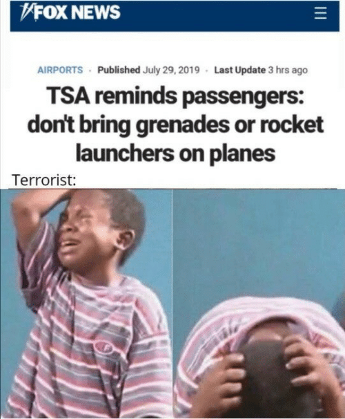 planes: FOX NEWS  AIRPORTS Published July 29, 2019 Last Update 3 hrs ago  TSA reminds passengers:  don't bring grenades or rocket  launchers on planes  Terrorist: