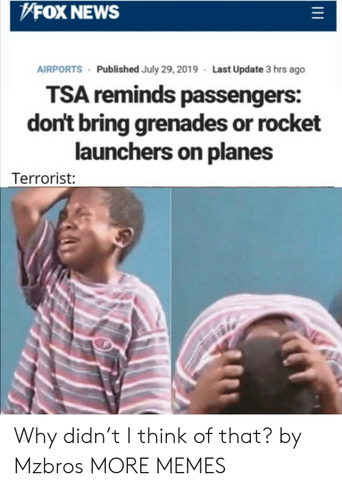 tsa: FOX NEWS  AIRPORTS Published July 29, 2019 Last Update 3 hrs ago  TSA reminds passengers:  don't bring grenades or rocket  launchers on planes  Terrorist: Why didn't I think of that? by Mzbros MORE MEMES