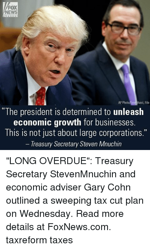 """treasury: FOX  NEWS  AP Photo ucci, File  """"The president is determined to unleash  economic growth for businesses.  This not just about large CorporationS.  Treasury Secretary Steven Mnuchin """"LONG OVERDUE"""": Treasury Secretary StevenMnuchin and economic adviser Gary Cohn outlined a sweeping tax cut plan on Wednesday. Read more details at FoxNews.com. taxreform taxes"""