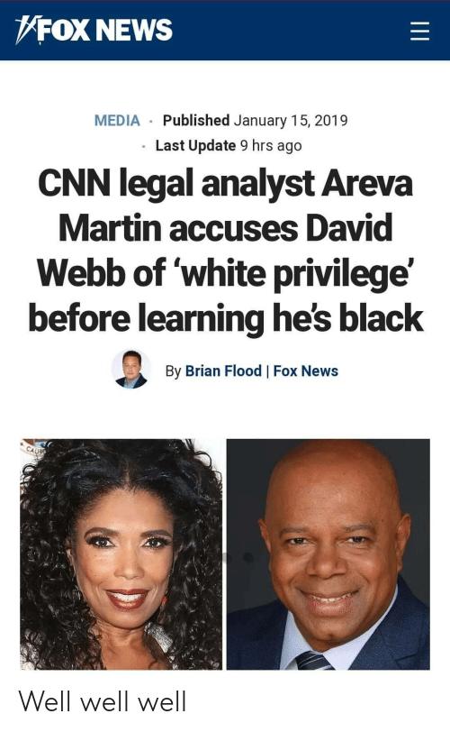 Flood: FOX NEWS  MEDIA Published January 15, 2019  Last Update 9 hrs ago  CNN legal analyst Areva  Martin accuses David  Webb of white privilege'  before learning he's black  By Brian Flood Fox News Well well well